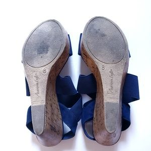 American Eagle Outfitters Shoes - AMERICAN EAGLE Blue Criss Cross Wedge Sandals 8